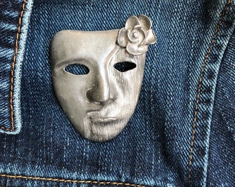 Masquerade mask brooch-large brooch-face jewelry