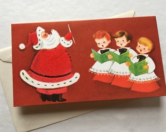 Vintage UNUSED flocked Norcross Christmas card, Santa Claus, Christmas cards, Merry Christmas, choir boy, glitter