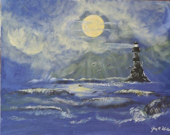 Fantasy lighthouse in moonlight on 16x20 canvas panel