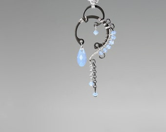 Blue Swarovski Crystal Pendant, Air Blue Opal Swarovski Necklace, Industrial Jewelry, Wire Wrapped Jewelry, Bridal Jewelry, Quark v5