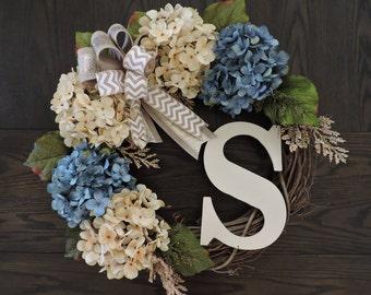 Spring Front Door Wreath WITH Monogram, Hydrangea Spring Wreath for door, Summer Door Wreath, Spring Door Wreath, Rustic Spring Door Wreath