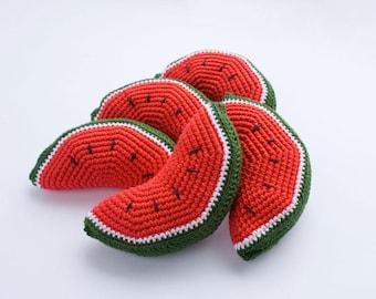 Watermelon Baby Rattle (1 pc) - Play Food, Crochet Food, Crochet Rattle, Eco-Friendly - FrejaToys