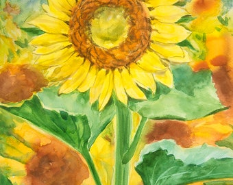 Sunflower — original one of a kind watercolour painting by Irina Redine