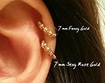 Cartilage earring, 14k gold filled, tiny hoops, gold cartilage hoop earrings with beads, helix piercing, nose ring, snug hoop, endless hoop