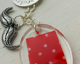 """Hand Stamped and Resin Romantic  Keyring gift """"Boyfriend Material"""""""