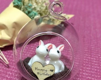 Miniature bunny couple gift