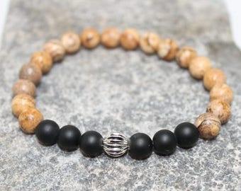 Mens stretch bracelet, Picture Jasper, stacking, earthy, elegant, rocker, boho, bracelet for him, gift, rustic, stylish, mens, Free shipping