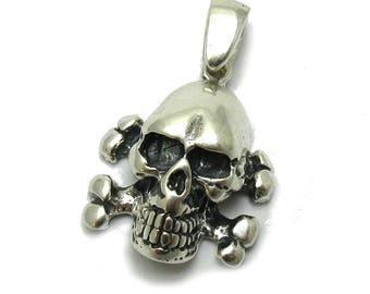 PE001216 Sterling silver pendant  solid 925 Skull