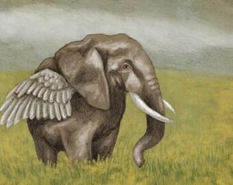 """Elephant Art Print """"Flying Ellie"""" - elephant wall art, elephant decor, winged elephant, animal art, animal art print, elephant drawing"""