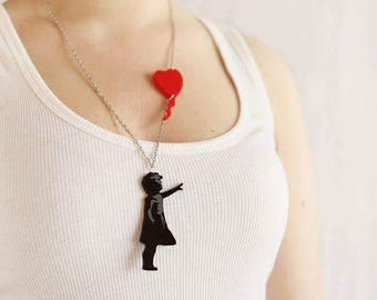 Balloon Girl Plexiglas Necklace - Black and Red
