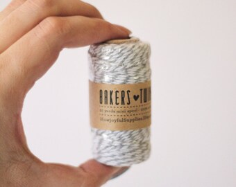 Pewter Grey Small Cotton Twine Spool  - 21 Yards - Cotton Bakers Twine - 20 Meters - 65 feet - DIY Wedding - DIY Card making - Smash Book