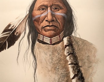 "Ute Tribe - American Indian by Mark Rohrig (26""H x 20""W) unframed"