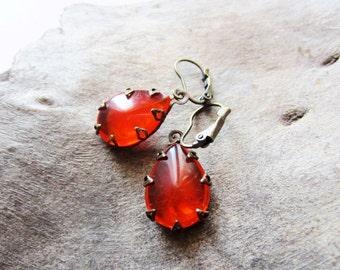 Orange earrings. Vintage look earrings. Teardrop earrings. Bronze earrings. Fire opal earrings. Estate jewelry. Crown setting. Leverback.