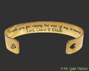 Gold Bracelet | Mother In Law | Mother In Law Gift | Mother of the Groom | Mother of the Bride | Thank you raising the man  | Korena Loves