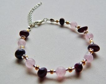 Garnet and rose quartz gemstone beaded bracelet