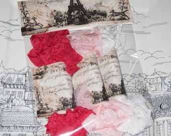 Scrunched Seam Binding, Hand Crinkled Seam Binding Packaged Saint Valentine Amour ECS