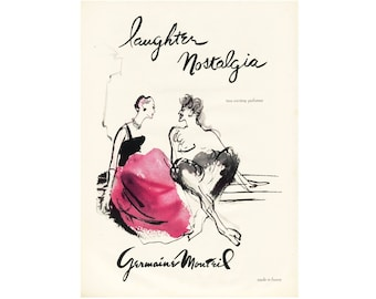 1950 Ad Print - Germaine Monteil Perfume Nostalgia Laughter French