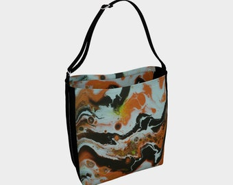 Abstract orange tote bag shoulder bag, purse, eco-friendly bag, grocery bag, travel bag, shopping bag