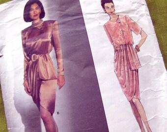 Vogue Sewing Pattern 2784 - GIVENCHE Wrap Dress with Belt and Drape- Paris Original  / Size 8-10-12