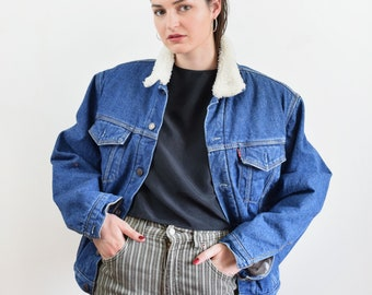 Vintage shearling Levis jacket, 90s denim jacket, Levi jacket, oversized jacket, shearling jacket denim, warm denim jacket, small size