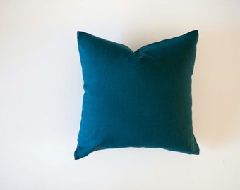 Teal blue pillow cover - classic style decorative pillows case - peackock solid  throw pillows 0020