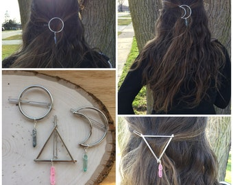 Wire wrapped Crystal hair clips, moon, circle, and triangle