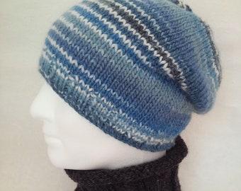Mens KNITTING PATTERN Mans Slouch Hat Gift for Him Boyfriend Beanie Boys Slouch Beanie Easy Knit Hat Dad Hat Husband Gift Teen Boy Hat CARA