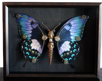 Steampunk butterfly sculpture with blue,lavender, teal and black wings - Limited series
