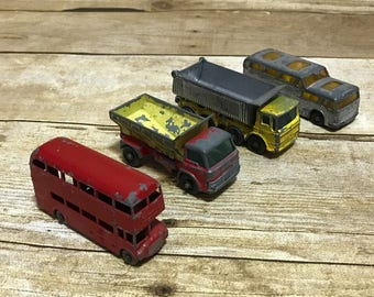 Vtg Lesney Toy Car Lot of 4 66 Coach 5 Routemaster 70 Spreading Truck 54 Tipper
