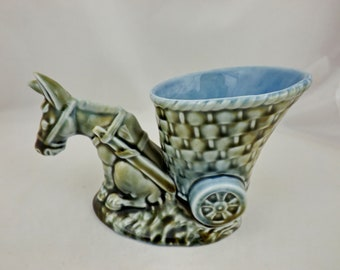 Wade Irish Donkey and Cart Planter Blue/Green First Version with Gap (Perfect)