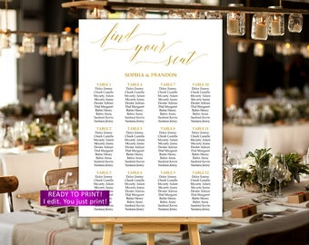 Wedding seating chart printable Gold Wedding seating chart personalized Gold Wedding seating plan calligraphy seating chart alphabetical,27