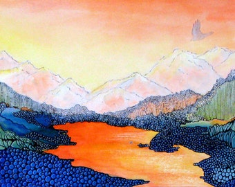 Stylized Colorado Mountain landscape. Wolf Lake 6 -is a fine art GICLEE print of one of my paintings. Free U.S. shipping.
