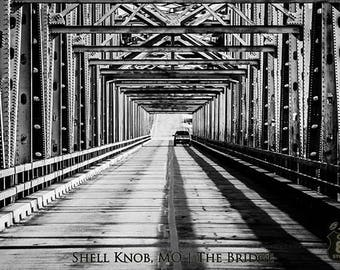 Art Print: The Bridge over Table Rock Lake at ShellKnob Missouri in b/w high contrast, black and white bridge photo, Table Rock Lake Bridge