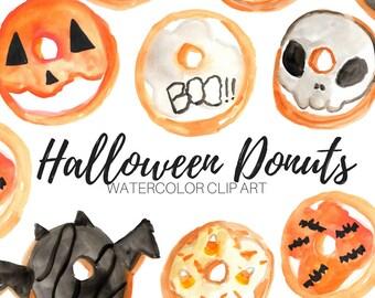 Watercolor Clip Art - Halloween clip art - Donuts clip art -  Dessert Clip Art - Commercial Use