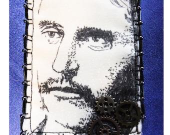 Tiny Art Quilt ATC Original Steampunk Art Design Victorian Man with Three Clock Gears