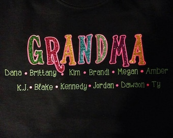 Glitter GRANDMA Sweatshirt With Children/ Grandchildren Names