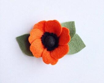 Orange Poppy Felt Flower Headband or Hair Clip