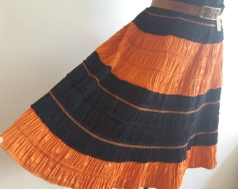 Vintage 60s Hmong Skirt ~ Ethnic Pleated Mini Skirt ~ Handmade Gipsy Skirt ~ Orange and Black ~Bohemian Festival Style