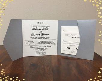 Gorgeous Laser Cut Wedding Invitations Pocket Wedding Die Cut Laser Cut Traditional Gray Shimmer Wedding Invites Laser Cut