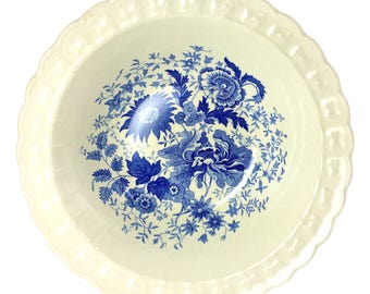 Taylor Smith Center Bouquet Blue Garland Vegetable Serving Bowl
