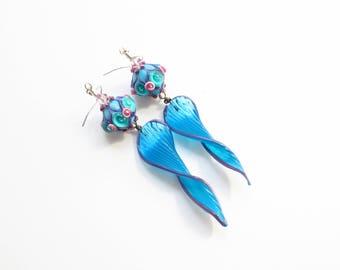Lampwork Earrings - Blue Dangle Earrings - Fancy Earrings - Floral Earrings - Sterling Silver - Unique Earrings - Long Earrings - Gift Idea