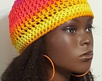 Starburst Crochet Skullcap Beanie and Earrings by Razonda Lee Razondalee