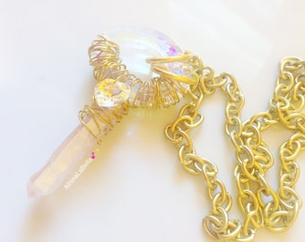 Angel Aura Quartz Crystal Necklace, Quartz Necklace, Healing Stone, Celestial Jewelry, Boho jewelry, Crystal Necklace, Quartz Point Pendant