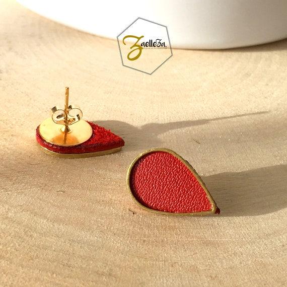 """Boucles d'oreille Clou or 14K /  Cadeau St Valentin / gouttes doré cuir rouge - modèle PLUIE - Coll.""""Mon Coeur Mon Amour"""""""