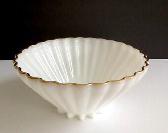 Large Milk Glass Serving Bowl, Pleated Sides, Gold Rim