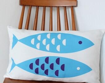 Blue Newlyn Fish Motif cushion cover pillow sham throw
