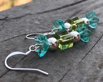 Glass Flower beaded earrings, bohemian earrings, gypsy earrings, unique earrings, hippy earrings, trendy earrings