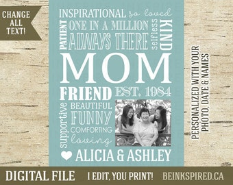 Mothers Day Gift, Mother's Day Gift, Gift for Mom, Gift for Mum, Mom Gift, Personalized Gift, Mom Mum Mother Word Art Print, DIGITAL FILE