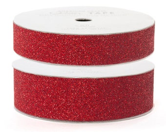 """Glitter Tape Rouge Red - 5/8"""" or 7/8"""" x 3 yds - 100% Archival"""