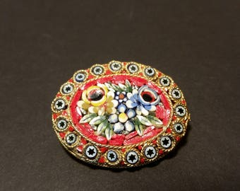 Vintage Micro Mosiac Brooch